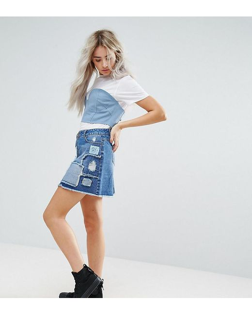 Urban Bliss - Blue Deconstructed Lace Patchwork Denim Mini Skirt - Lyst