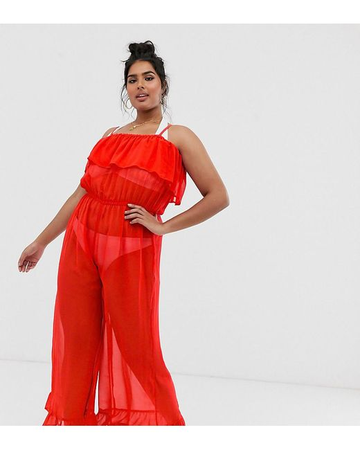 Simply Be Beach Jumpsuit In Red