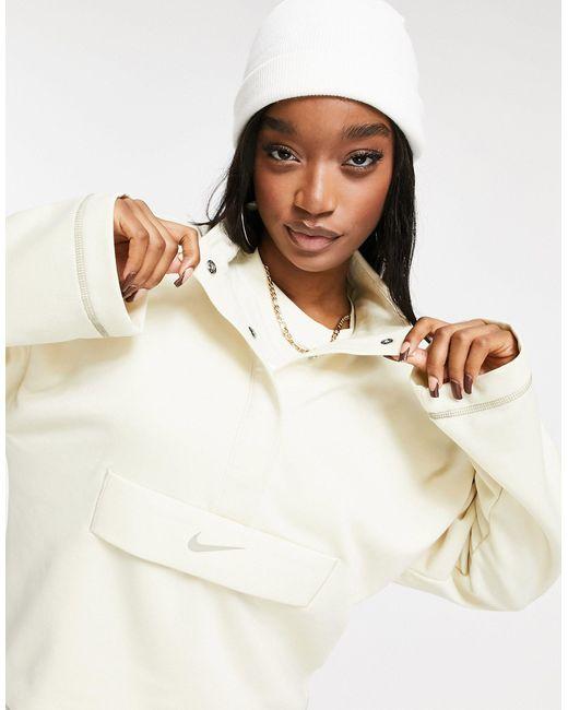 Бежевый Свитшот С Короткой Молнией, Высоким Воротником И Логотипом-галочкой -кремовый Nike, цвет: White