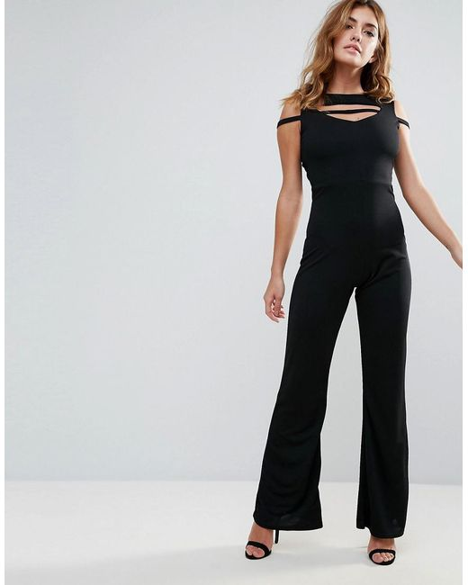 Club L | Black Band Cross Front Jumpsuit | Lyst