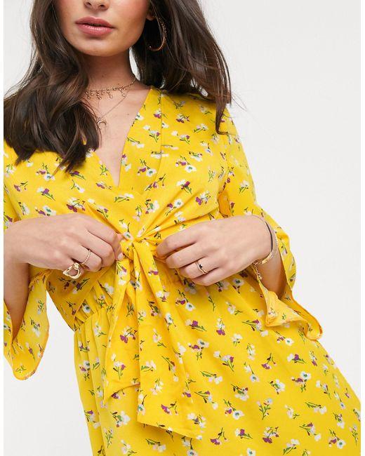 Платье С V-образным Вырезом На Завязке -мульти AX Paris, цвет: Yellow