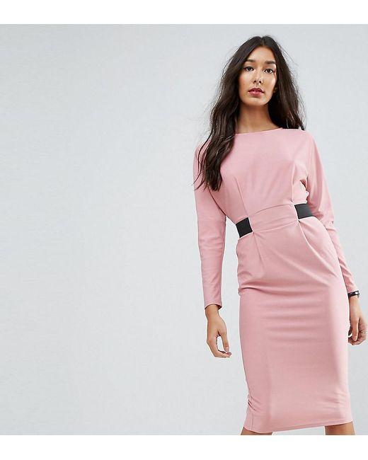 ASOS | Pink Midi Dress With Elastic Waist Detail | Lyst