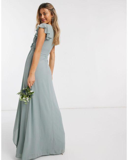 Шалфейно-зеленое Платье Макси С Расклешенными Рукавами И Оборками Вridesmaid-зеленый TFNC London, цвет: Blue