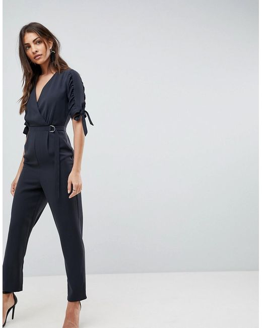 ASOS | Black Jumpsuit With Wrap Front And D-ring Detail | Lyst