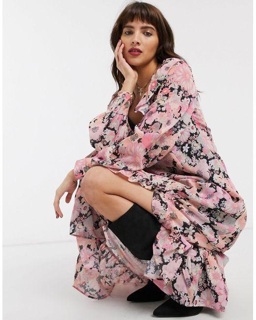 Платье Макси С Оборками И Ярким Цветочным Принтом ASOS, цвет: Pink