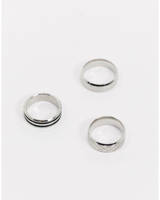 ASOS Metallic Stainless Steel Band Ring Pack for men