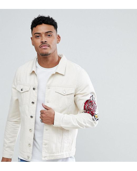 Lyst Just Junkies Denim Jacket With Rose Embroidery In White For Men