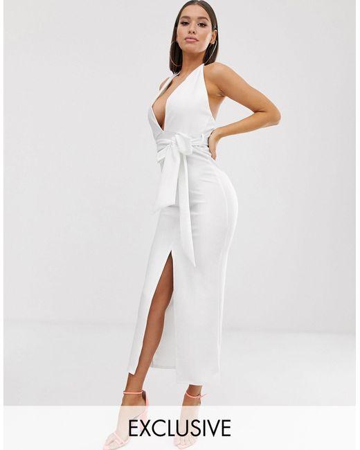 Белое Платье Макси С Глубоким Вырезом -белый Missguided, цвет: White