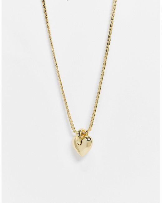 Золотистое Ожерелье С Массивной Подвеской-сердечком -золотистый & Other Stories, цвет: Metallic