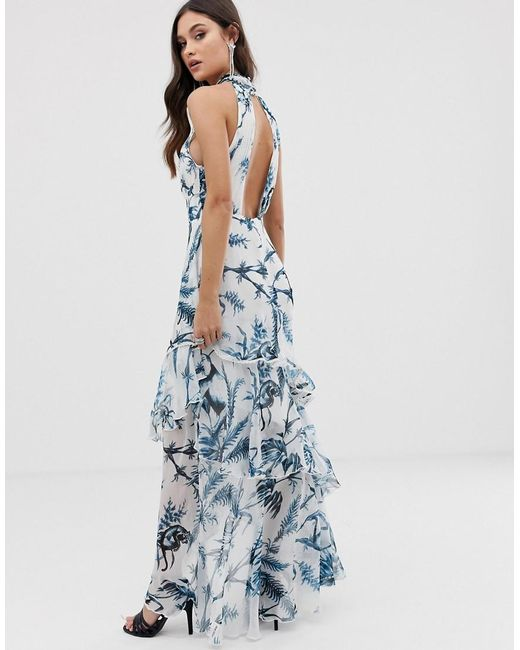 01fdfd48521 ... ASOS - Blue High Neck Maxi Dress In Crinkle Chiffon Palm Print - Lyst