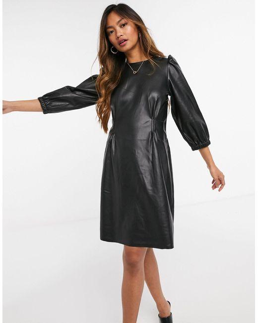 Vero Moda Black Faux Leather Mini Dress With Volume Sleeves