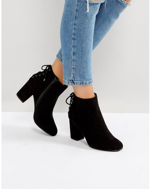 Dune | Black Olli Lace Back Heeled Ankle Boots | Lyst