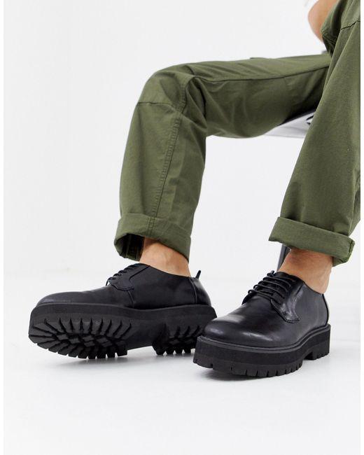 Черные Туфли Из Искусственной Кожи Со Шнуровкой И Толстой Подошвой ASOS для него, цвет: Multicolor