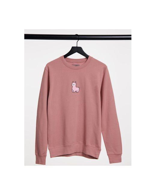 New Love Club Pink Oversized Sweatshirt With Llama Print