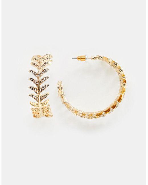 ASOS - Metallic Hoop Earrings With Pretty Jewel Design In Rose Gold - Lyst