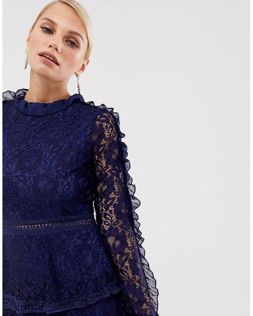 Кружевное Короткое Приталенное Платье -темно-синий AX Paris, цвет: Blue