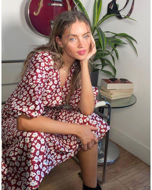 TOPSHOP Red Daisy Puff Sleeve Midi Dress
