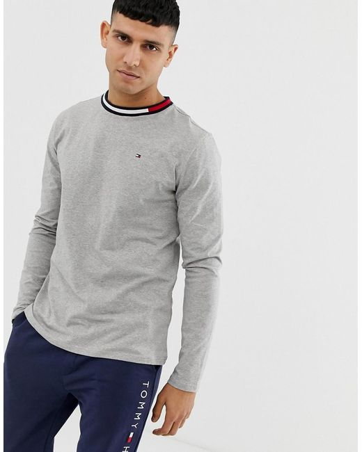 66f9457a Tommy Hilfiger - Gray Crew Neck Long Sleeve T-shirt With Contrast Icon Flag  Neck ...