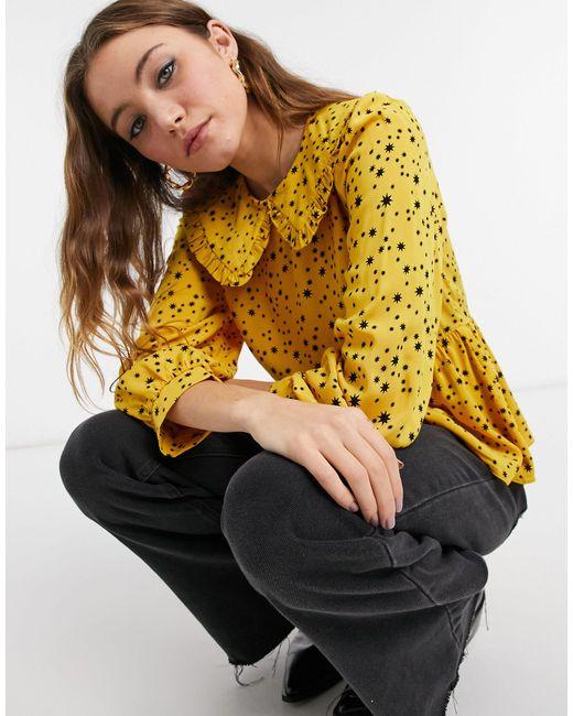 Желтая Блузка С Оборками На Воротнике И С Принтом В Виде Звезд -желтый New Look, цвет: Yellow