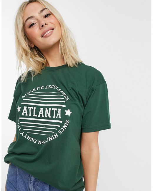 Daisy Street Green Relaxed T-shirt With Atlanta Print