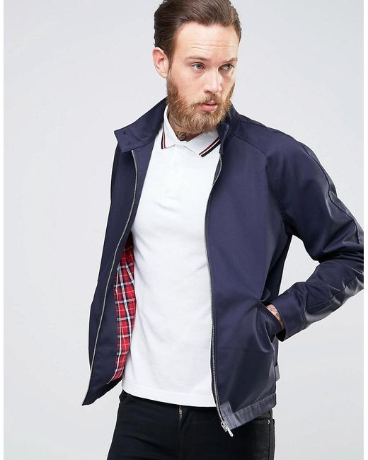 ASOS | Blue Harrington Jacket With Funnel Neck In Navy for Men | Lyst