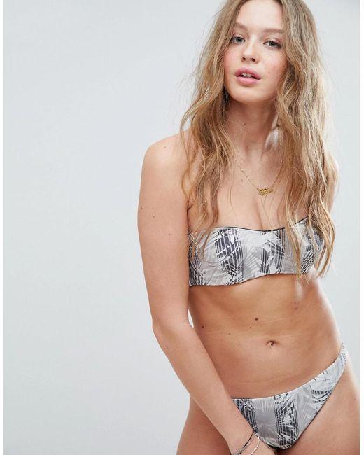 RVCA - Multicolor Feather Print Reversible Bandeau Bikini Top - Lyst