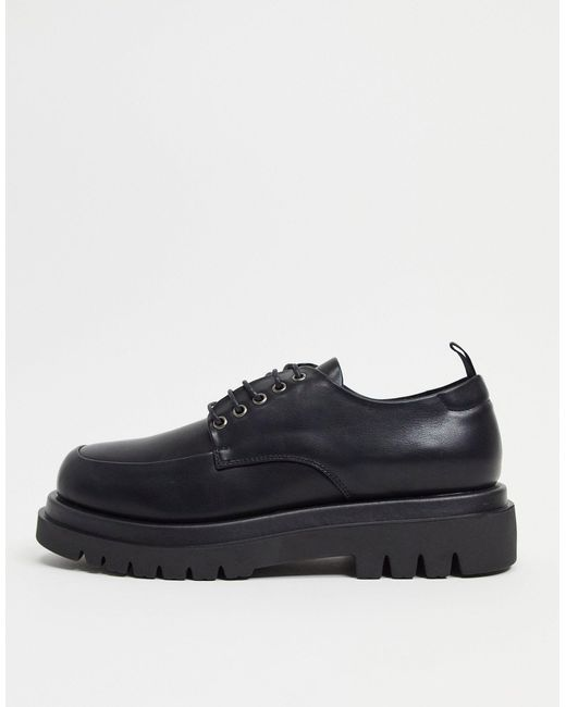 Черные Ботинки На Шнуровке С Квадратным Носком И На Массивной Подошве -черный Цвет Truffle Collection для него, цвет: Black