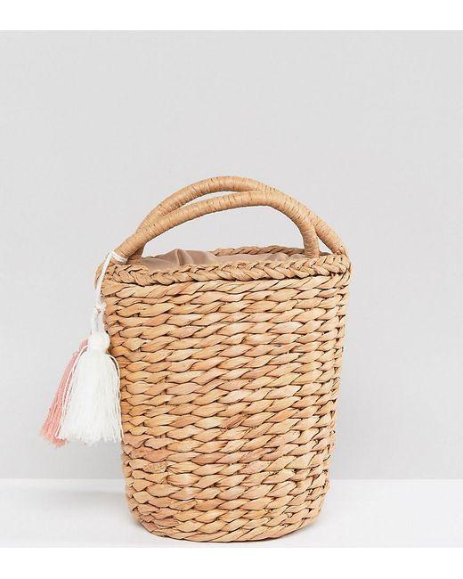 Glamorous - Natural Circular Straw Bag With Tassel - Lyst