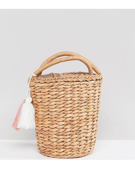 Glamorous - Natural Circular Straw Bag With Tassel - Lyst