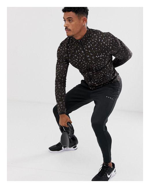 Sudadera deportiva ajustada con estampado ASOS 4505 de hombre de color Brown