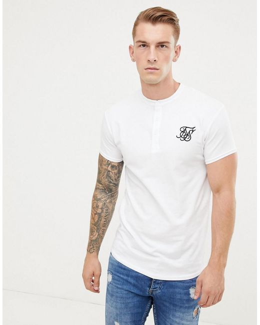 ae930b73 SIKSILK T-shirt In White With Grandad Collar in White for Men - Lyst