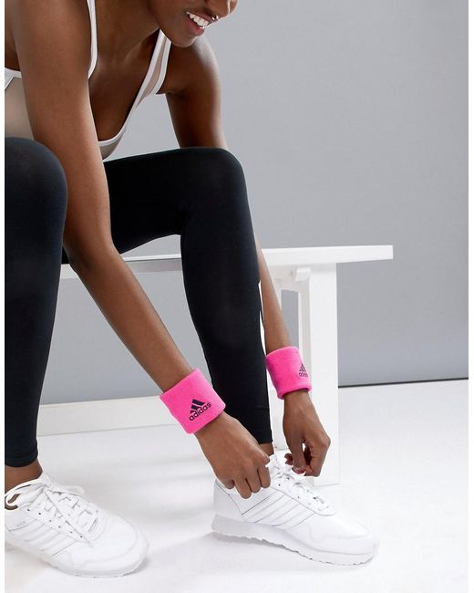 Adidas - Wristband In Hot Pink - Lyst