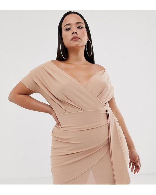 Boohoo Pink Off Shoulder Mini Dress With Wrap Detail In Nude