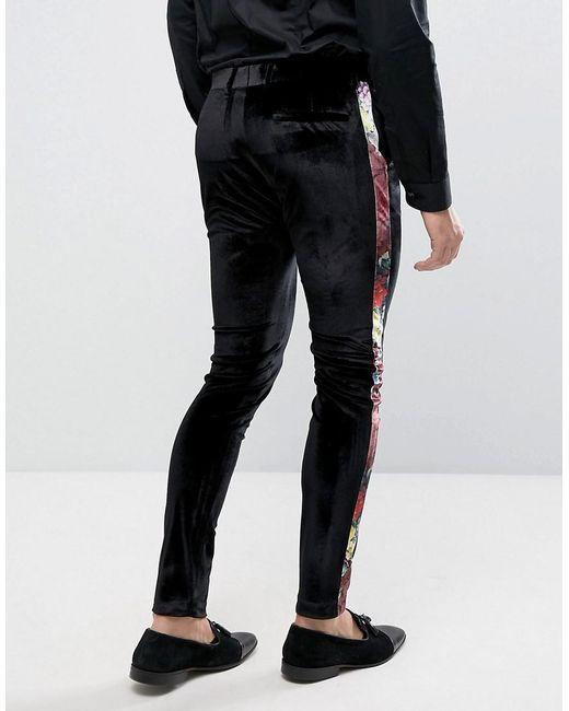 Asos Super Skinny Suit Pants In Black Velvet With Floral