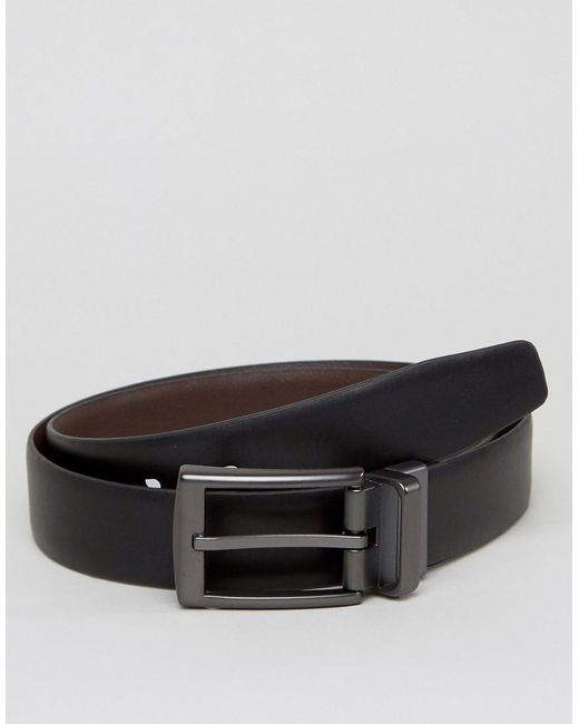ben sherman reversible leather belt with silver buckle in