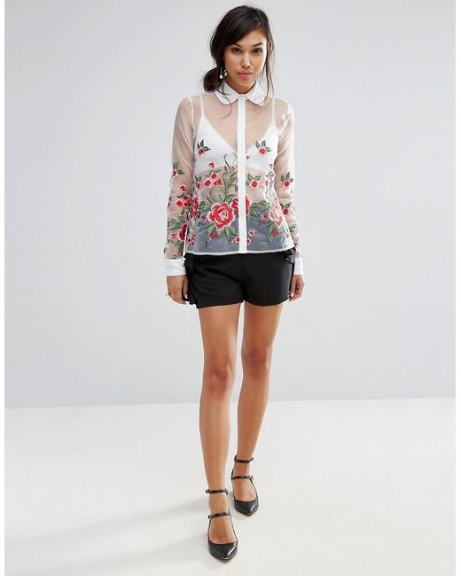 Fashion union sheer shirt with floral embroidery in white