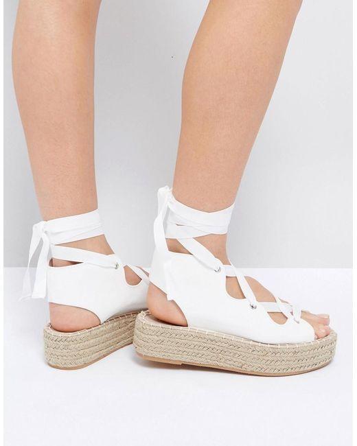 asos jaycena lace up espadrille sandals in white lyst. Black Bedroom Furniture Sets. Home Design Ideas
