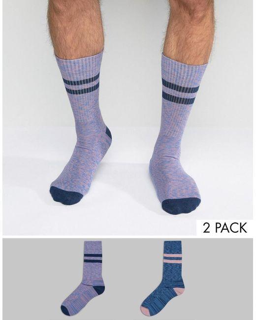 ASOS | Blue Tube Style Socks 2 Pack for Men | Lyst