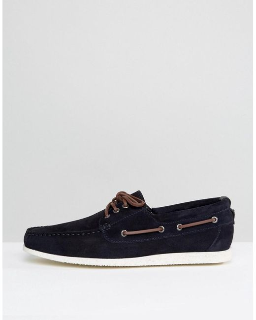 boss orange by hugo boss deck suede boat shoes in blue for. Black Bedroom Furniture Sets. Home Design Ideas