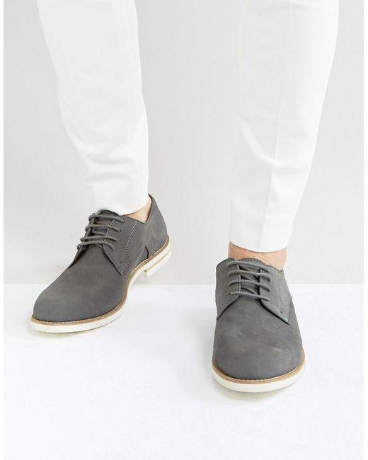 Dune   Gray Beatnik Derby Shoes In Grey Suede for Men   Lyst