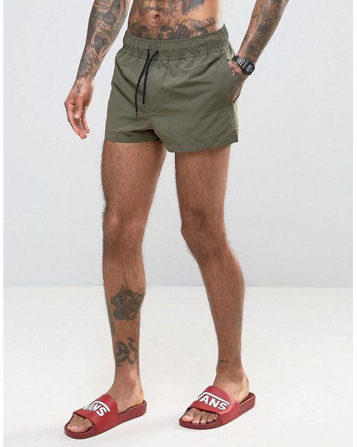 Asos Swim Shorts In Khaki Super Short Length in Green for Men   Lyst