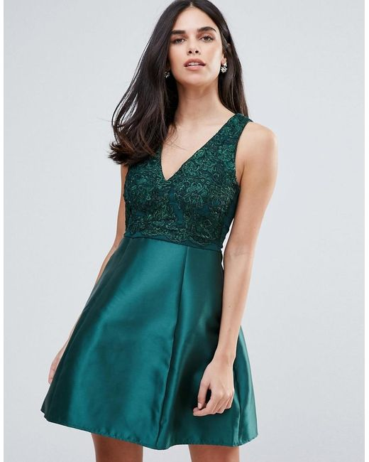AX Paris | Green Embelished Top Skater Dress | Lyst