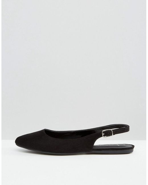 Black Suedette Flat Pointed Shoes