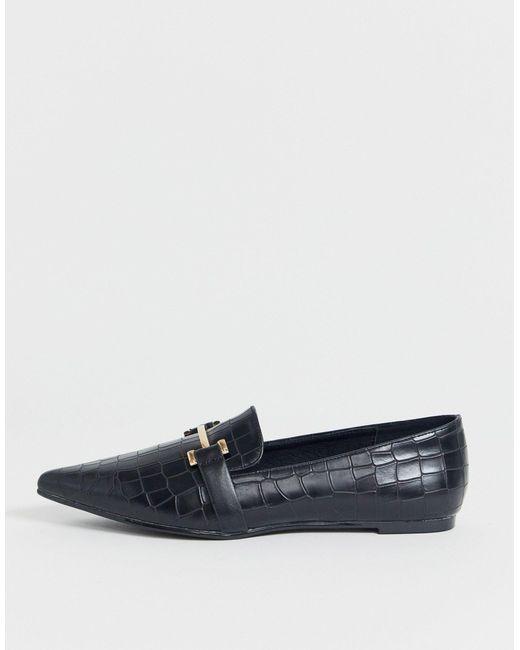 Park Lane Black – Spitze, flache Loafer