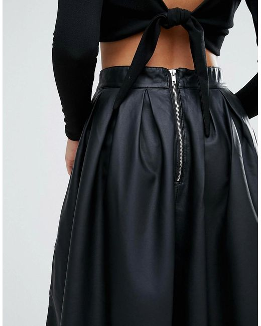 forever unique faux leather pleated skater skirt in black