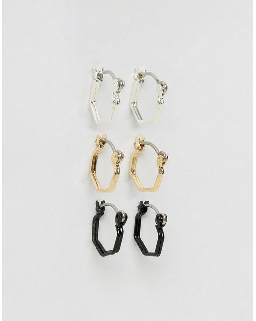 ASOS   Multicolor Hexagon Hoop Earring Pack In Mixed Finish   Lyst