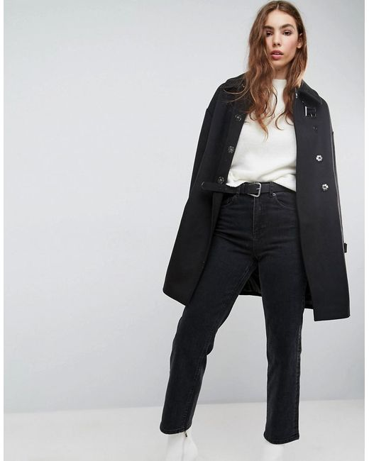 ASOS - Black Oversized Coat With Buckle Funnel Neck - Lyst