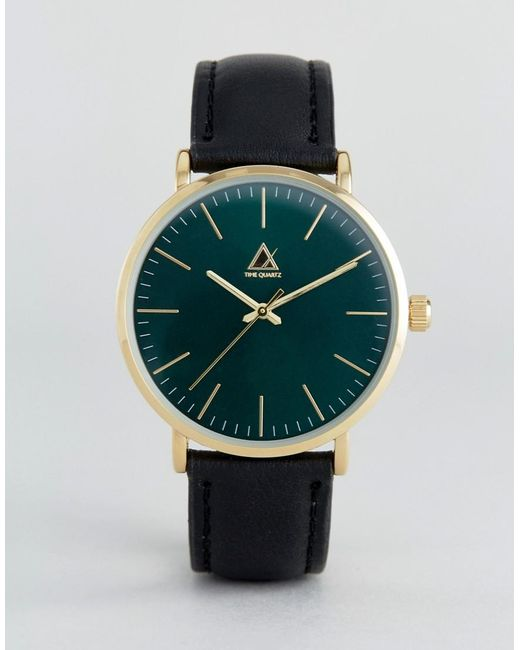 Asos Watch With Leather Strap And Dark Green Face in Black ...