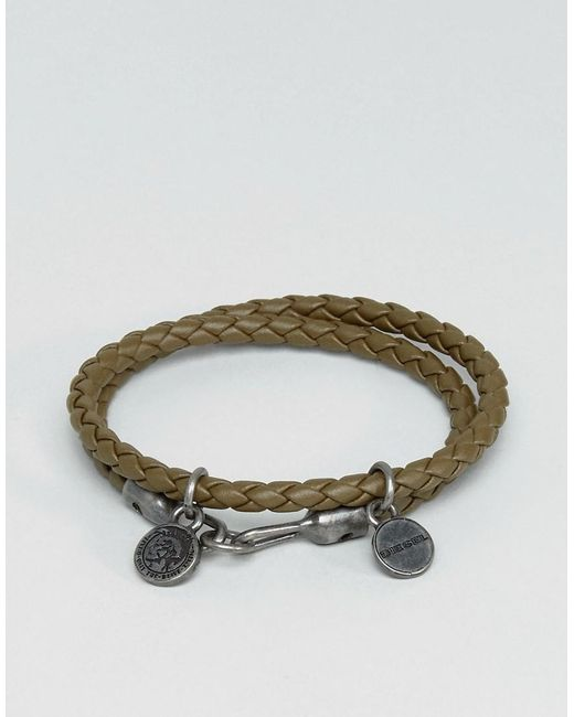 DIESEL | Green A-lucy Wrap Leather Bracelet In Olive | Lyst