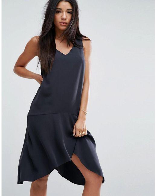 ASOS | Black Asymmetric Midi Dress | Lyst
